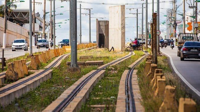 Obras inacabadas do VLT de Cuiabá. Foto: Divulgação