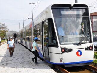 Veículo Leve sobre Trilhos (VLT) em São Vicente, SP — Foto: Divulgação/Prefeitura de São Vicente