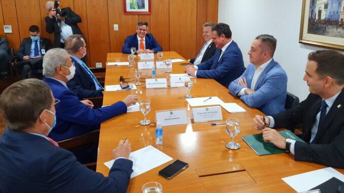 Mauro Mendes participou de reunião em Brasília — Foto: Secom-MT