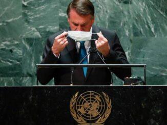 O presidente Jair Bolsonaro em discurso na Assembléia Geral da ONU de 2021.Eduardo Munoz-Pool/Getty Images
