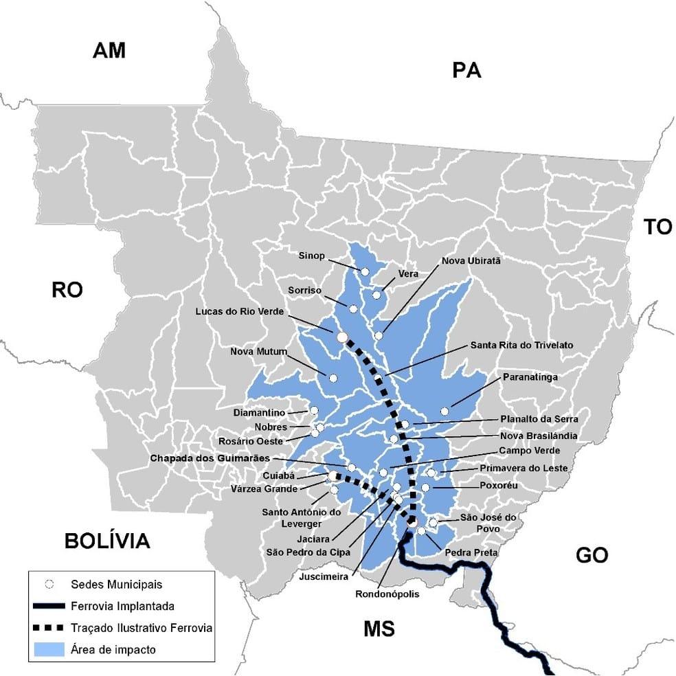 Projeto prevê a implantação de trilhos e terminais que vão interligar os municípios de Rondonópolis a Cuiabá, além de Rondonópolis com Nova Mutum e Lucas do Rio Verde — Foto: Secom-MT