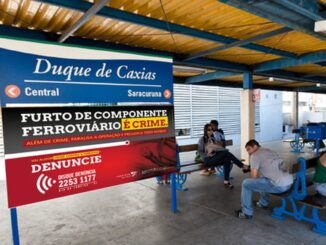 Projeção da campanha da Supervia em parceria com o Disque Denúncia Foto: Divulgação